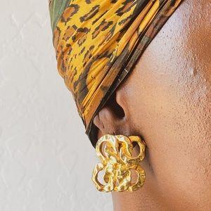 Vtg 80's Square Linked Gold Tone Earrings